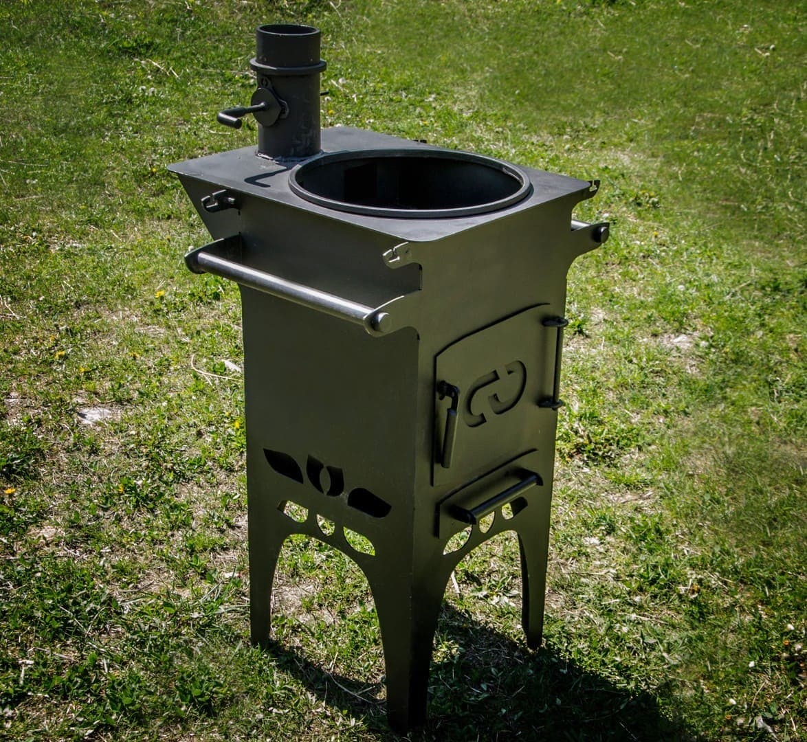 Печь для казана Гурман, под казан до 16 литров, термометр, сталь - 4 мм. - фото 10342
