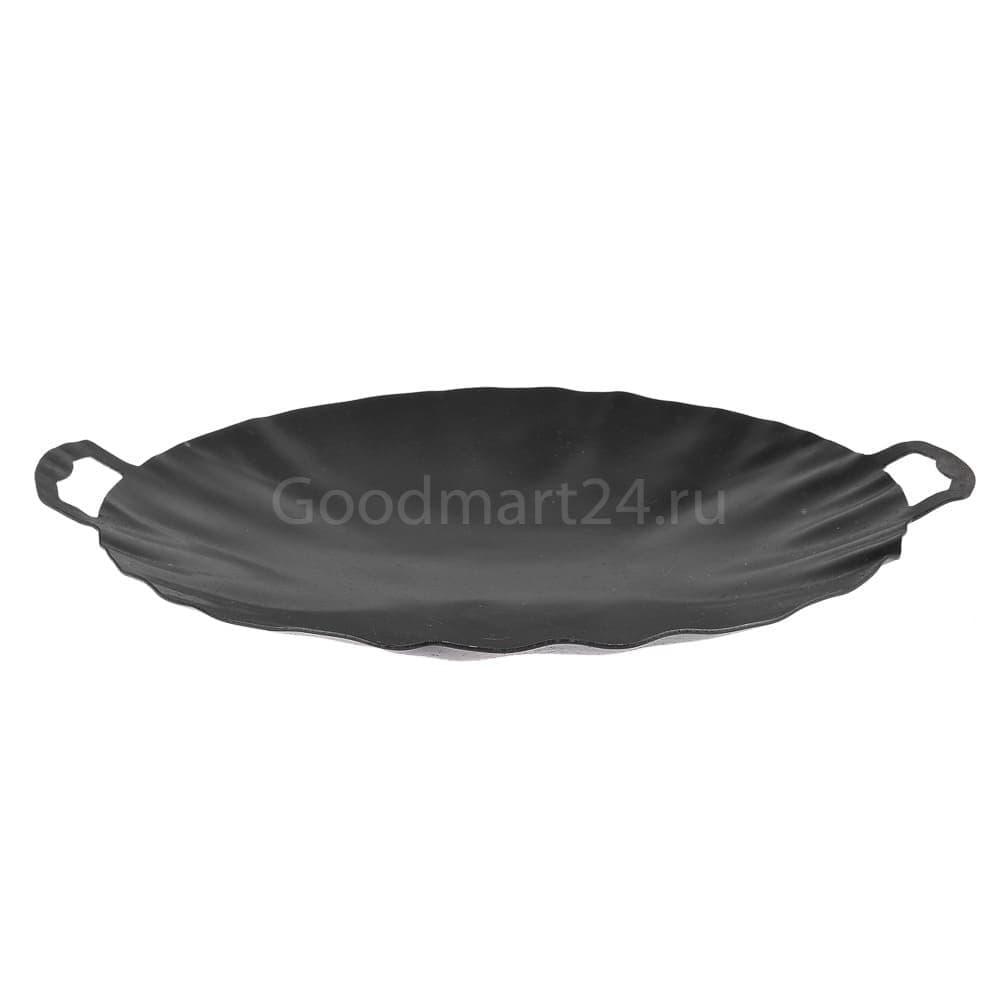 Садж сковорода без подставки, вороненая сталь, 30 см. - фото 10751