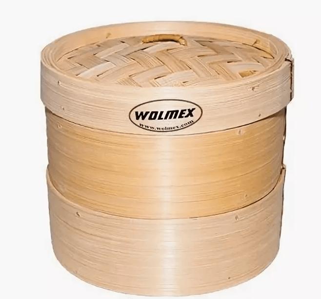 Бамбуковая пароварка Wolmex (2 уровня + крышка) 28 см - фото 10864