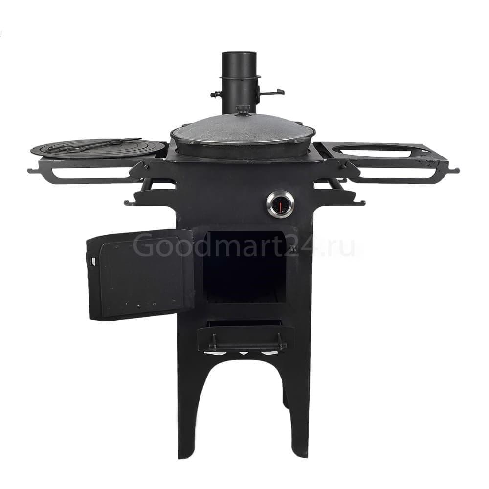 Печь для казана Гурман, под казан до 16 литров, термометр, сталь - 4 мм. - фото 11113