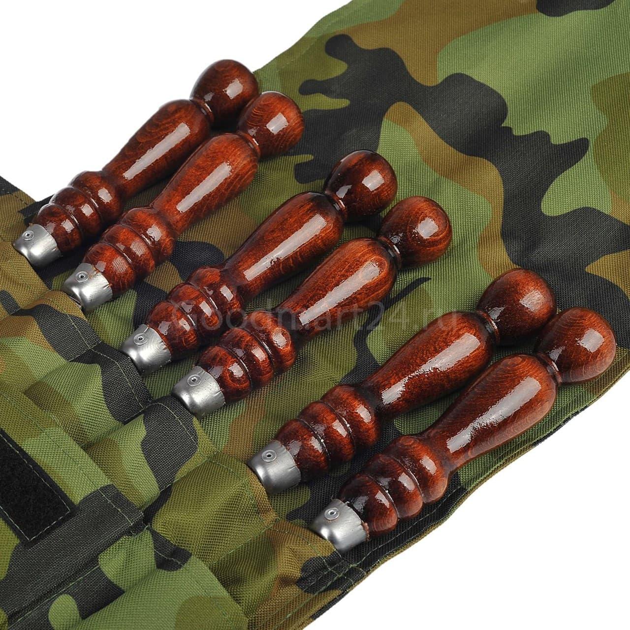 Набор шампуров в чехле, 500х12х3 мм. нерж, дер/ручка, таганок - фото 11293