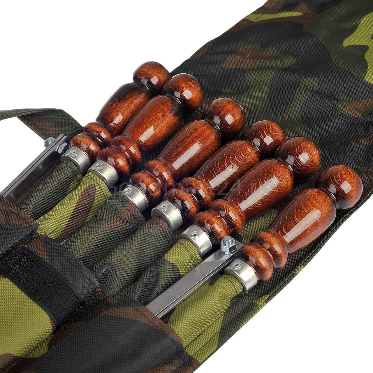 Набор шампуров в чехле, 500х12х3 мм. нерж, дер/ручка, таганок - фото 11294