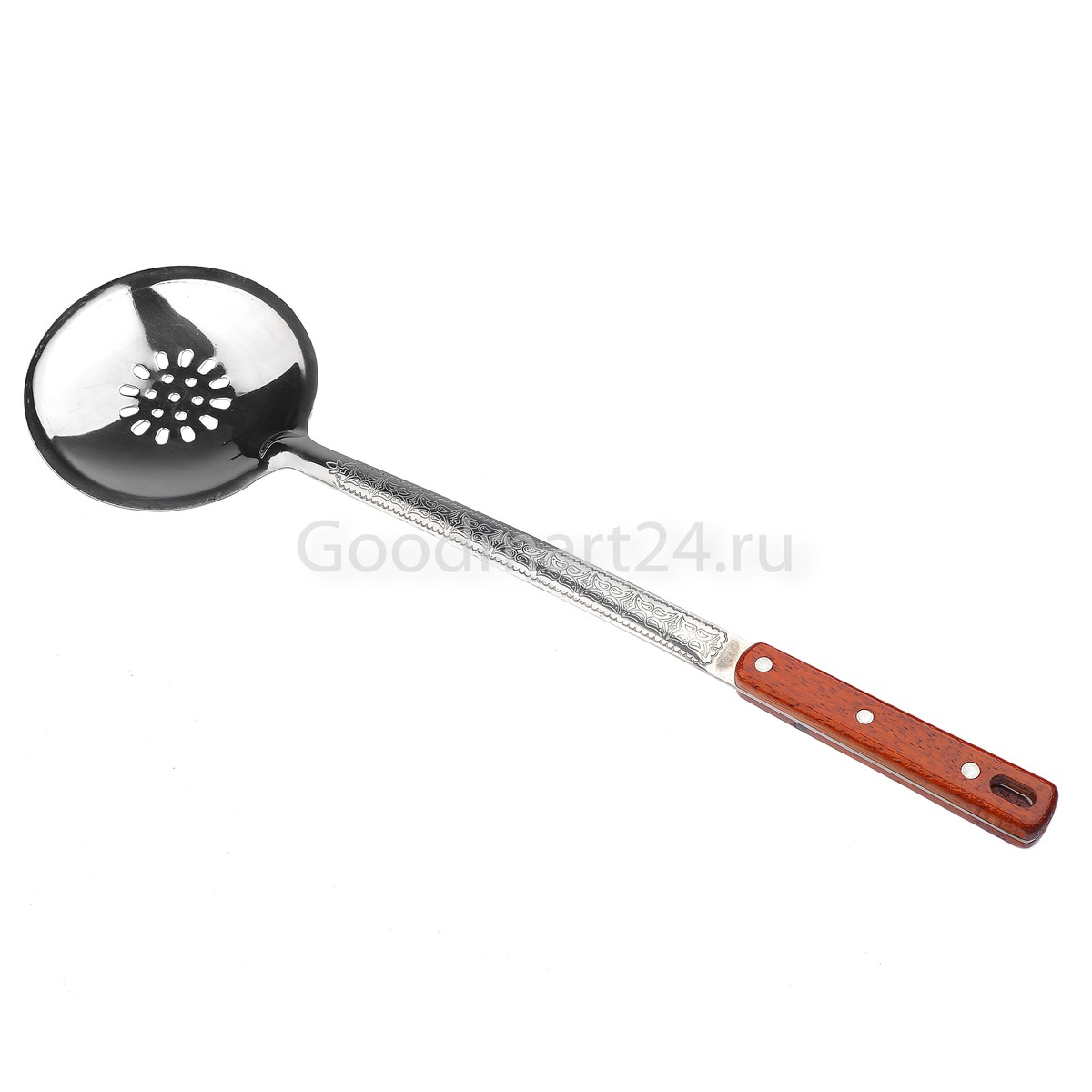 Шумовка для казана средняя (10-25 л.) с деревянной ручкой 46.5 см