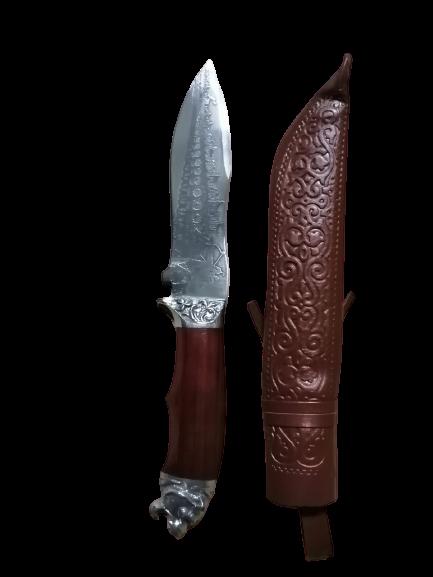 арт. 57 Пчак средний, гарда олово гравировка, рукоять орех, клинок ШХ15 15 см. общая длинна 27 см. - фото 12460
