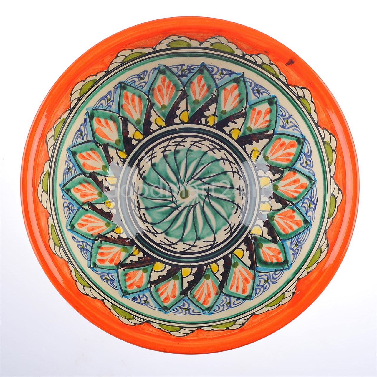 Риштанская Пиала большая 11 см. оранжевый Мехроб - фото 12882
