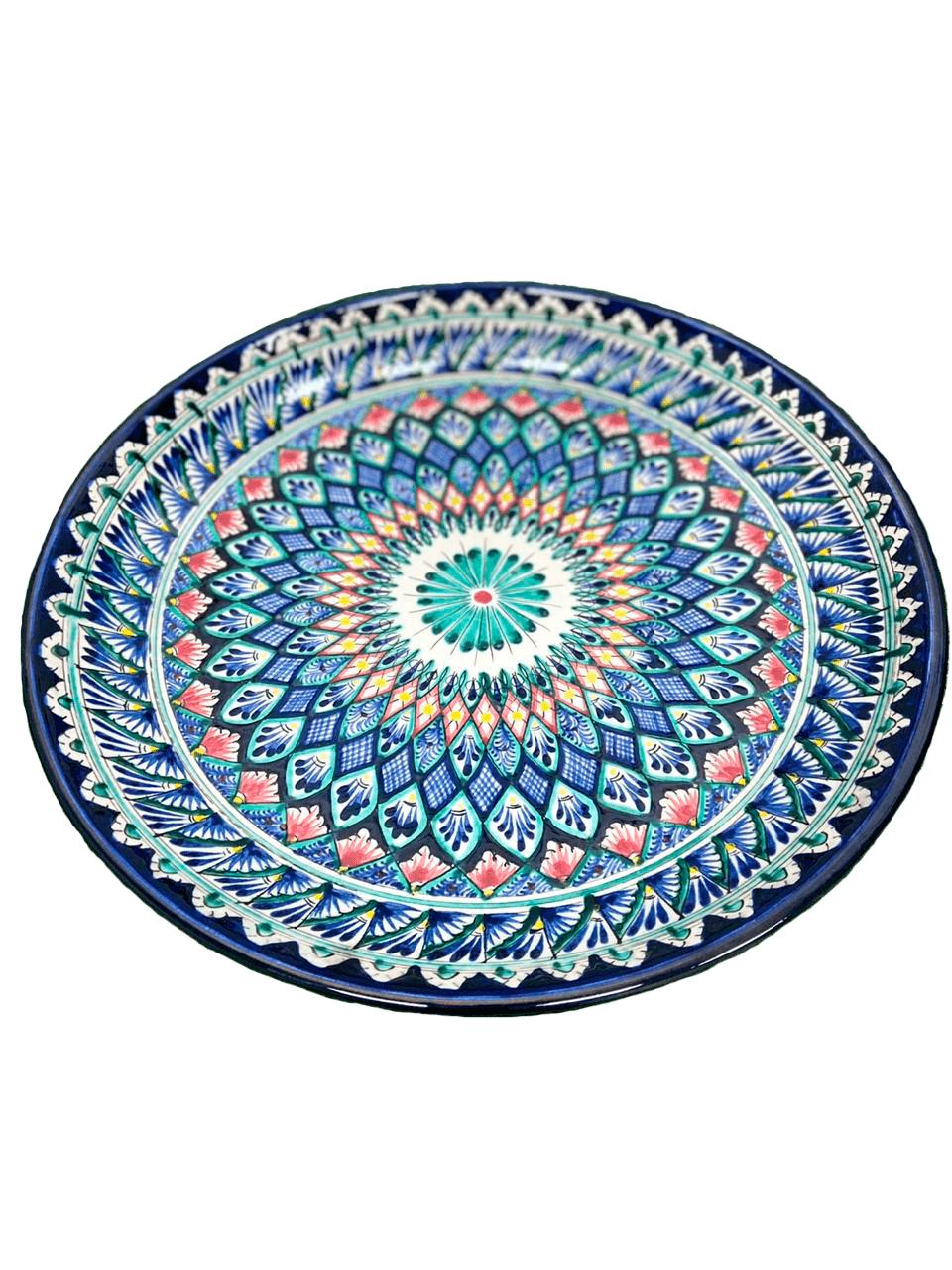 Ляган риштанская керамика синий мехроб 38см