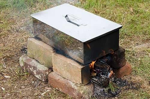 Коптильня с поддоном для сбора жира нерж. сталь 0,8мм. 480х280х170 мм. - фото 4753