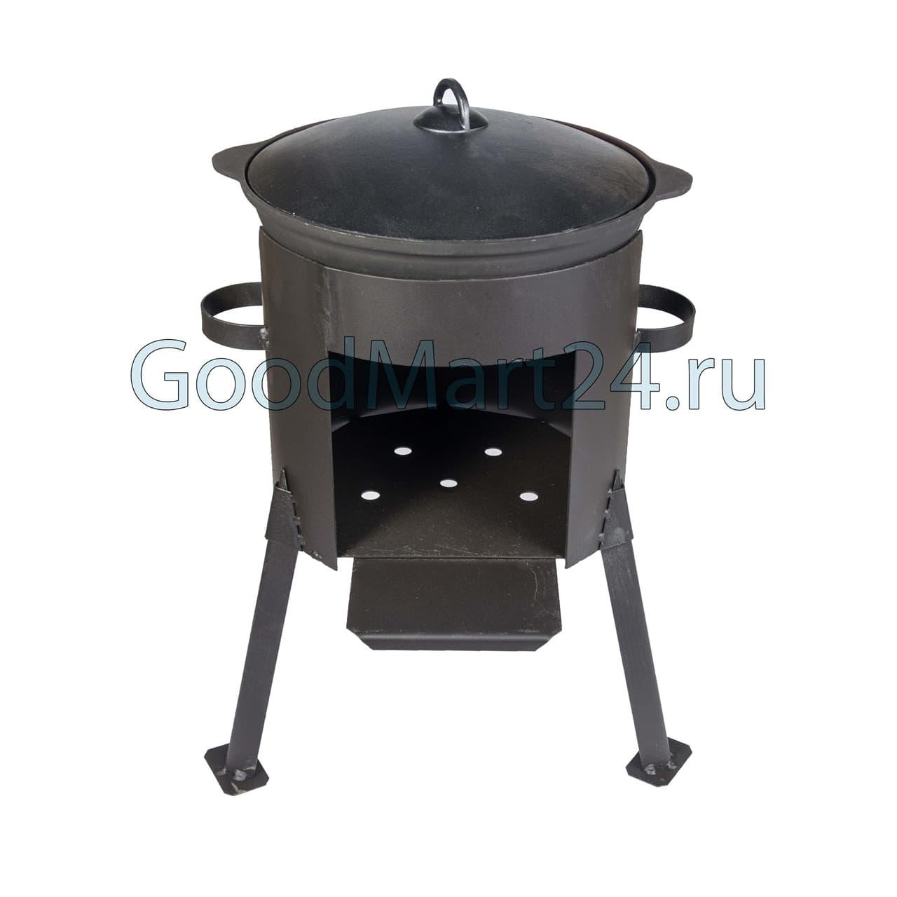 Чугунный казан 6 литров БЛМЗ + печь D-320 мм сталь 2 мм фото