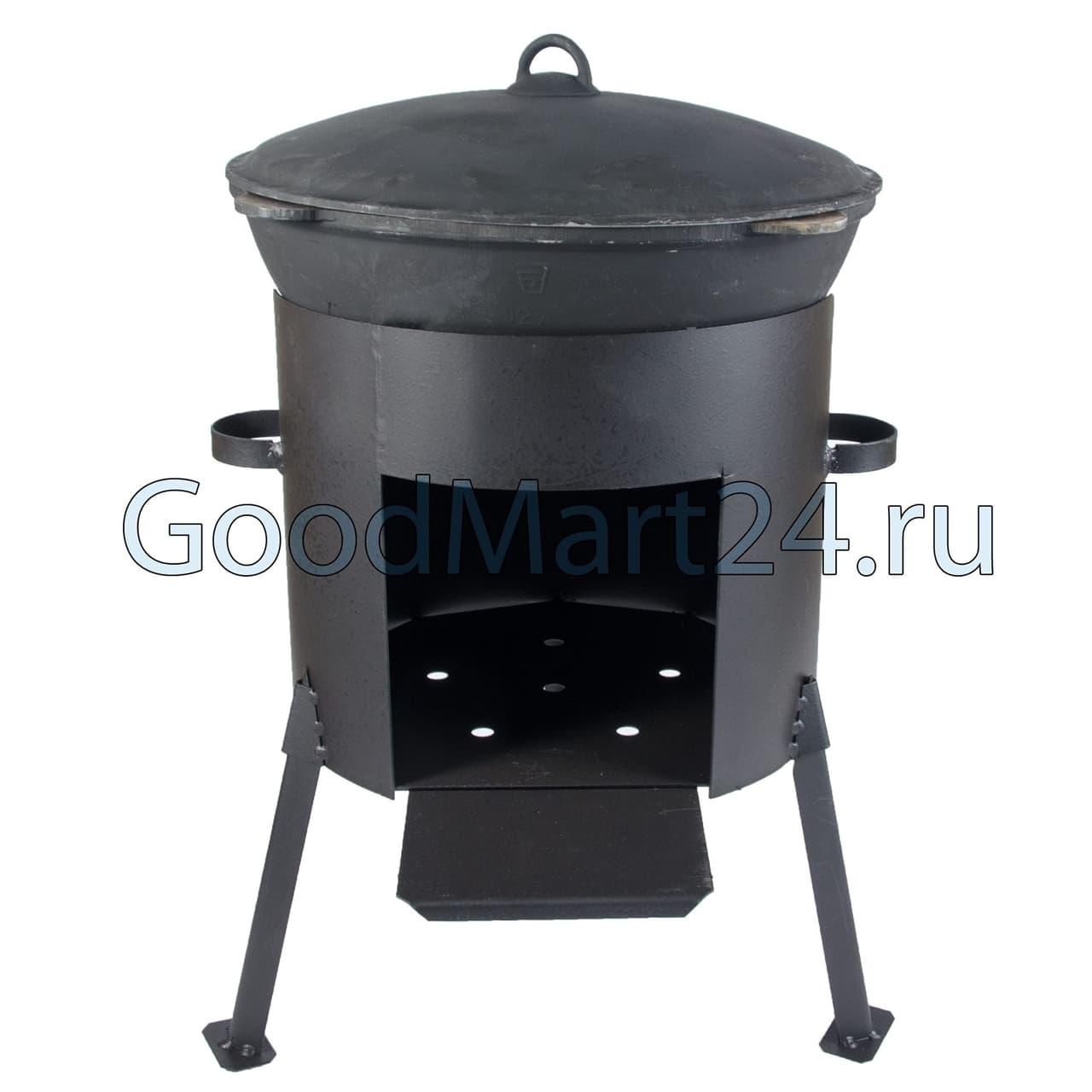 чугунный казан 8 л БЛМЗ + печь D-340 ММ сталь 2 ММ фото