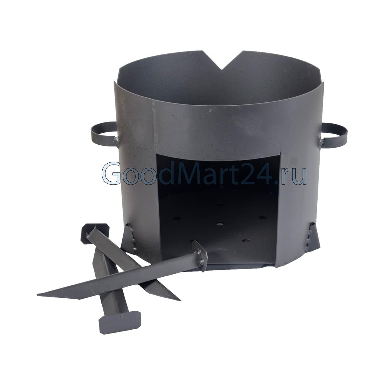 Чугунный казан 12 л. Балезинский ЛМЗ + Печь d-360 мм сталь 2 мм. - фото 4845