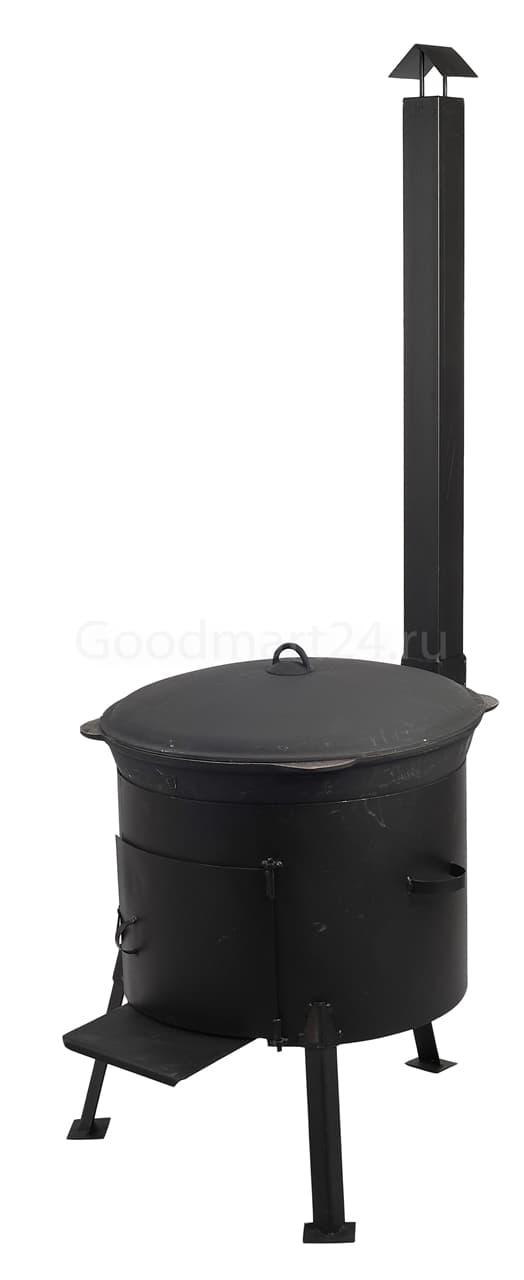 Чугунный казан 25 л. Балезинский ЛМЗ + Печь с трубой D-480 мм сталь 2 мм. - фото 4894