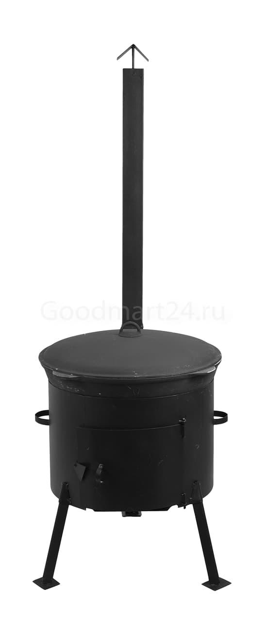Чугунный казан 25 л. Балезинский ЛМЗ + Печь с трубой D-480 мм сталь 2 мм. - фото 4895