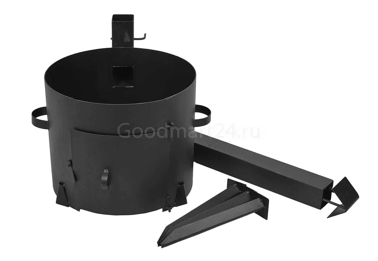 Чугунный казан 18 л. Балезинский ЛМЗ + Печь с трубой усиленная сталь 3 мм. - фото 4918