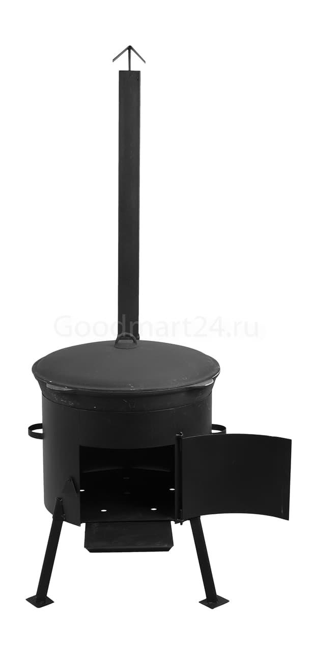 Чугунный казан 25 л. Балезинский ЛМЗ + Печь с трубой усиленная сталь 3 мм.