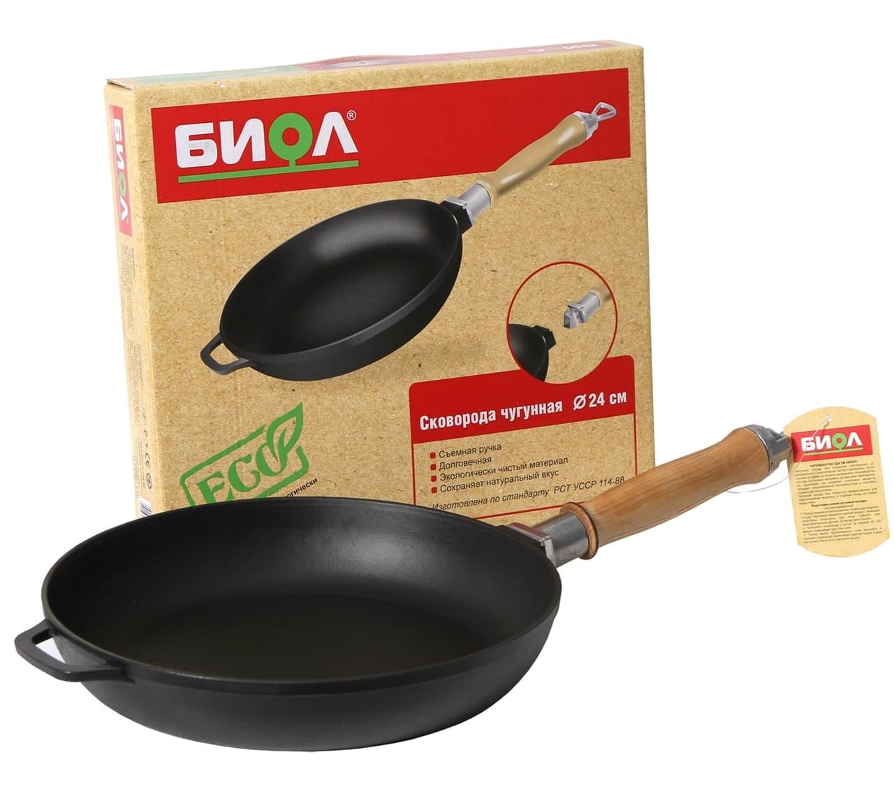 Чугунная сковорода 220х40 мм. с деревянной ручкой БИОЛ арт. 0122