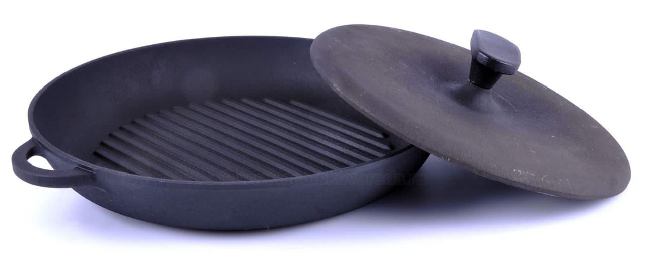 Сковорода цыплята-табака 340х40 мм. чугунная Ситон ЧГ3440 - фото 5075