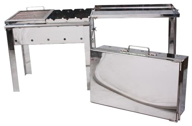 Мангал чемодан старый очаг нержавеющая сталь с решеткой гриль фото