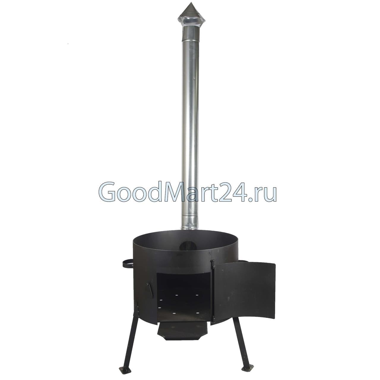 Комплект: Чугунный казан 10 л. Балезинский ЛМЗ + Печь с трубой D-360 мм, усиленная s- 3 мм. - фото 5542