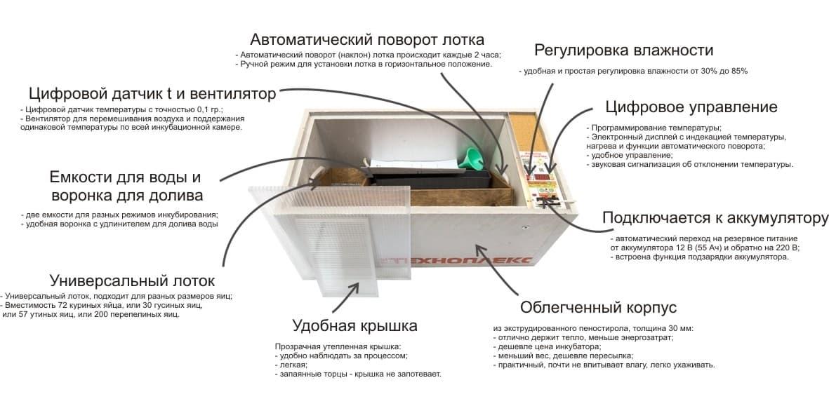 Инкубатор БЛИЦ Норма Цифровой 72 яйца, 220/12В, автомат. поворот, регулировка влажности - фото 5585