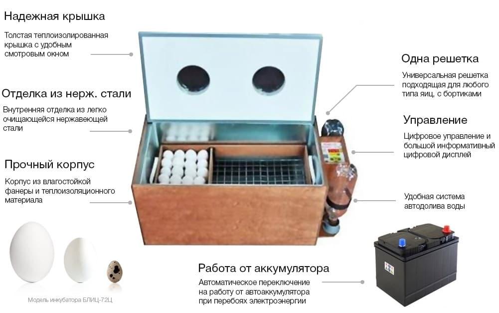 заказать Инкубатор БЛИЦ 72 Цифровой 220/12В автомат.поворот