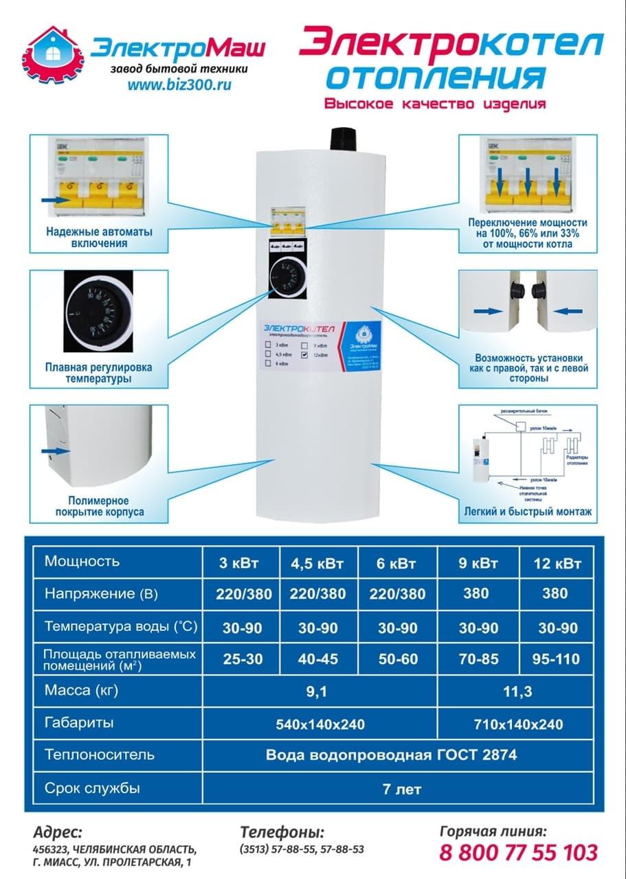 Электрокотел отопления Электромаш ЭВПМ - 3 кВТ отзывы