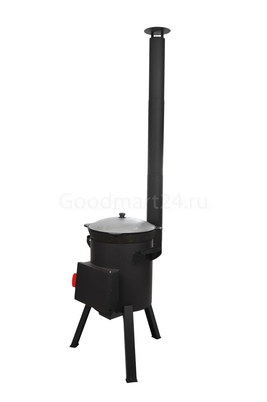 Узбекский чугунный казан 12 литров + печь c трубой, поддувалом Grillver 3 мм. - фото 7174