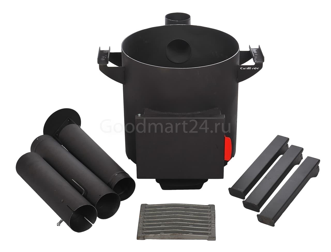 Узбекский чугунный казан 12 литров + печь c трубой, поддувалом Grillver 3 мм. - фото 7177