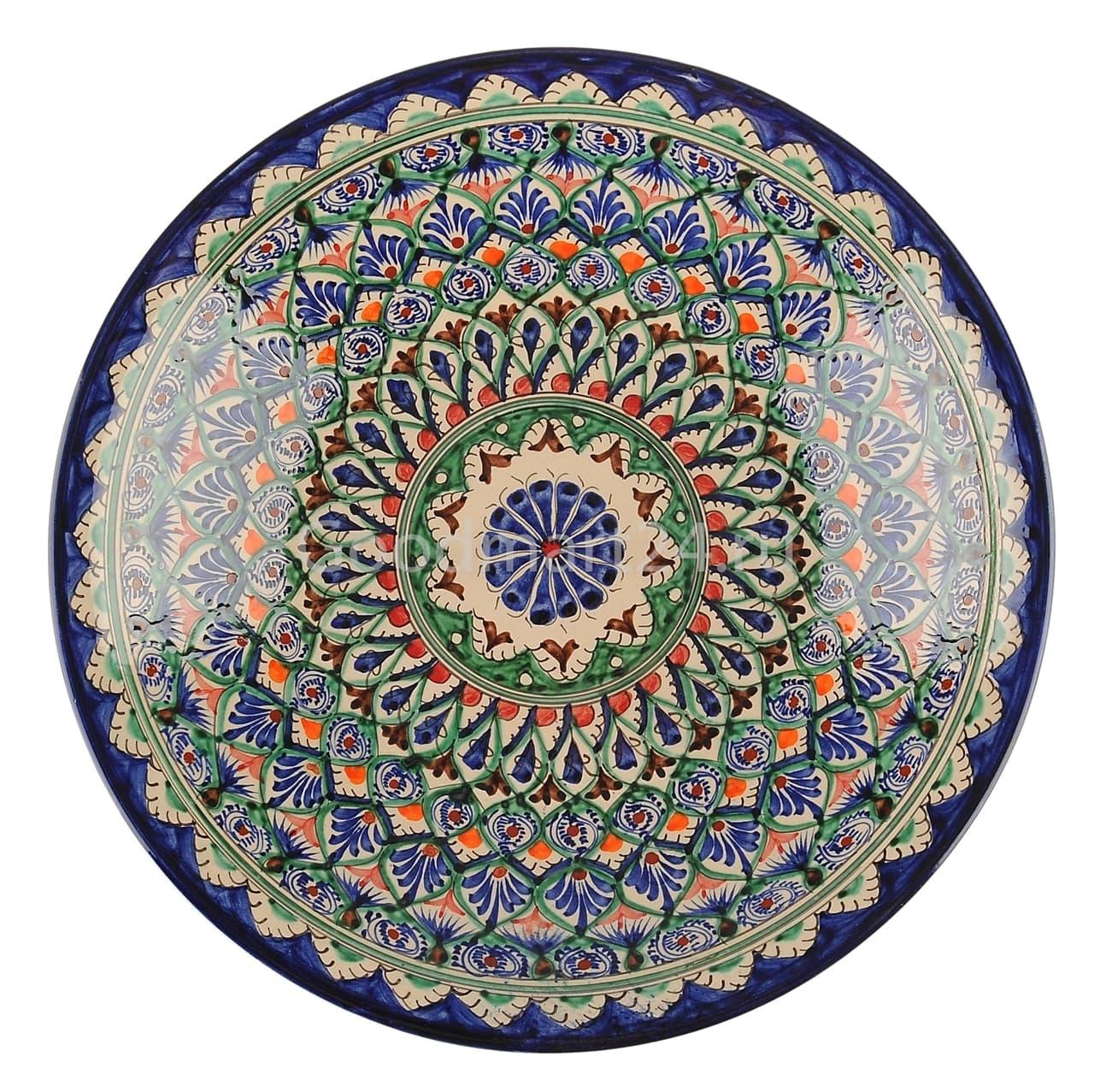 Ляган Риштанская Керамика 34 см. плоский, синий - фото 7320