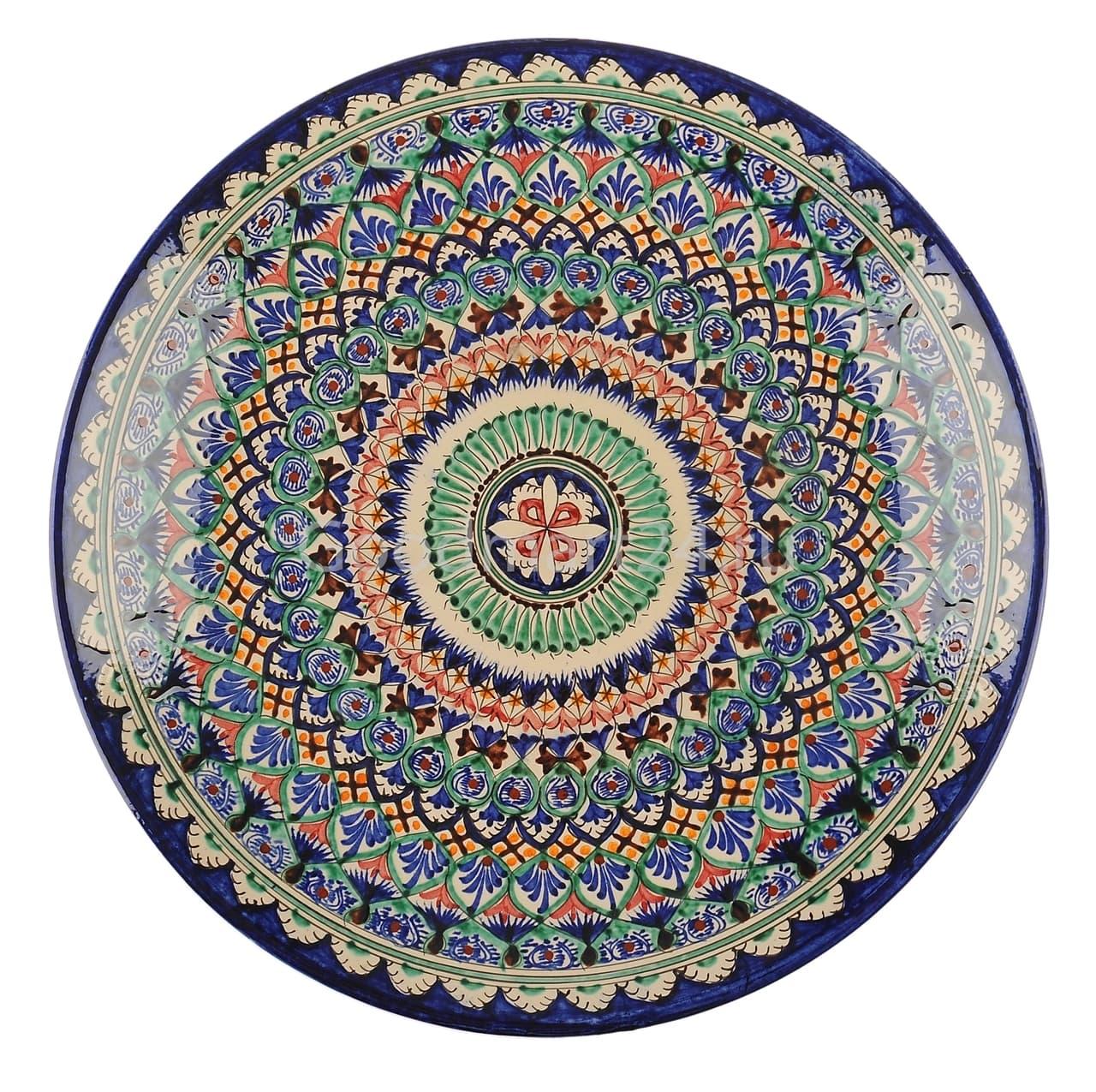 Ляган Риштанская Керамика 34 см. плоский, синий - фото 7322