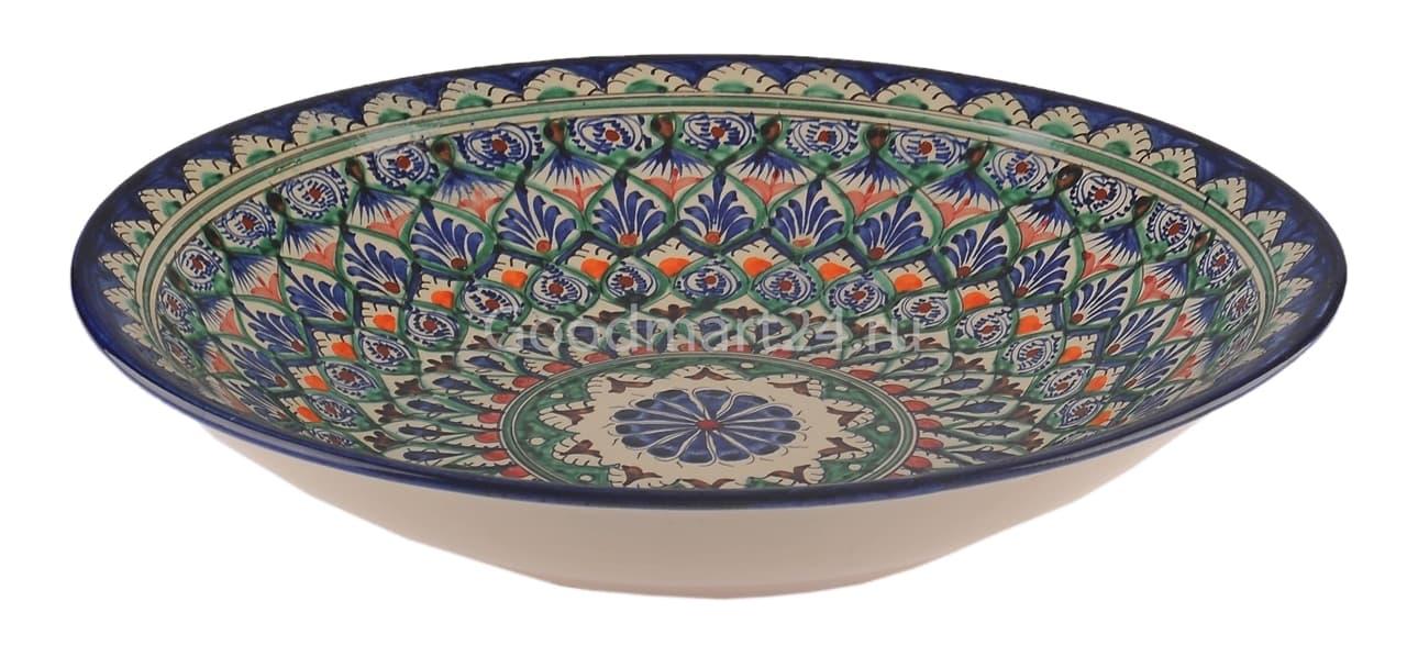 Ляган Риштанская Керамика 34 см. плоский, синий - фото 7323