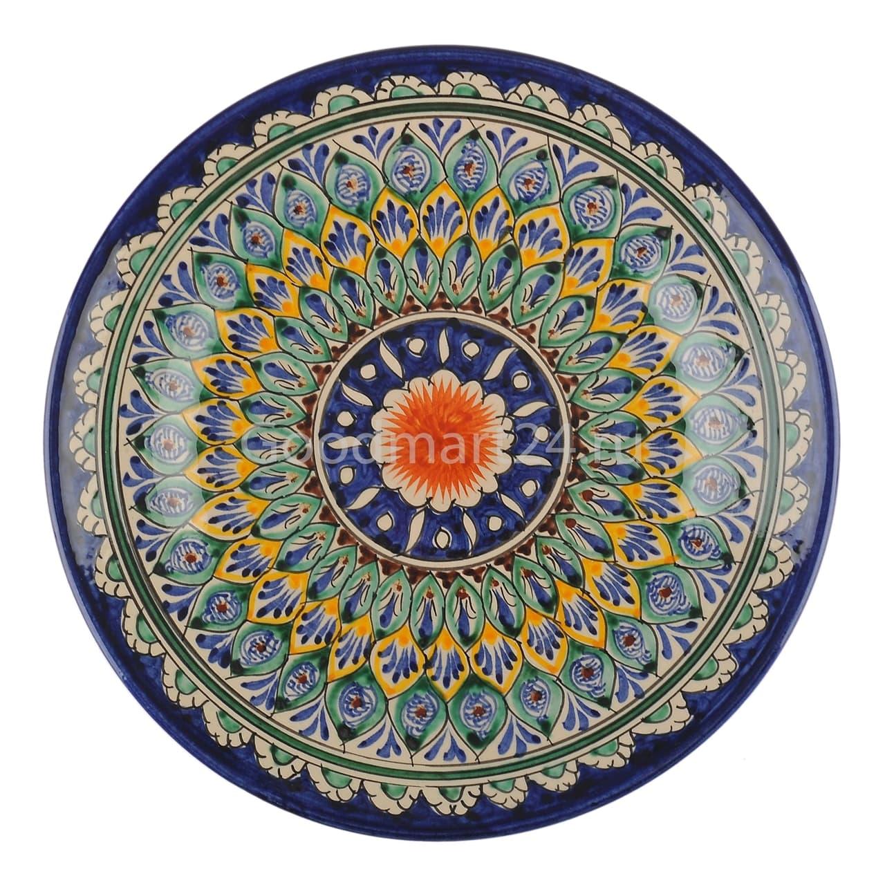 Ляган Риштанская Керамика 38 см. плоский, синий - фото 7326