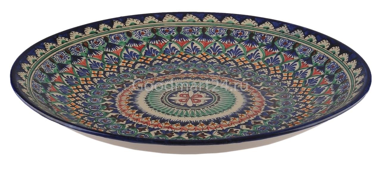 Ляган Риштанская Керамика 42 см. плоский, синий - фото 7331