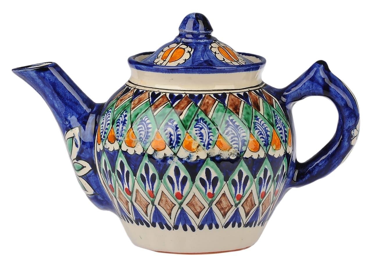 Чайник заварочный Риштанская Керамика 1 л. синий - фото 7475
