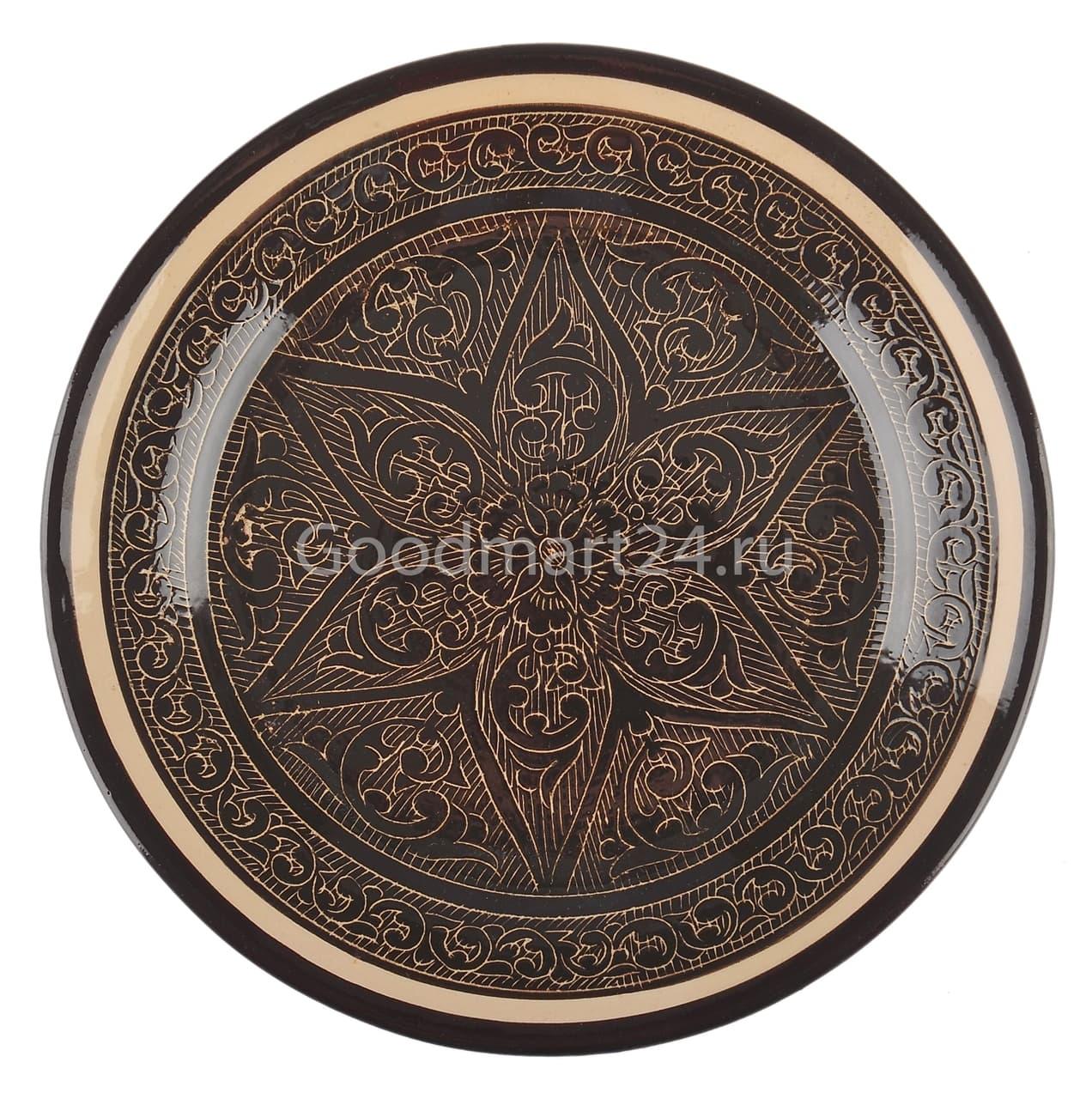 Тарелка глубокая Риштанская Керамика 19 см. коричневая - фото 7534