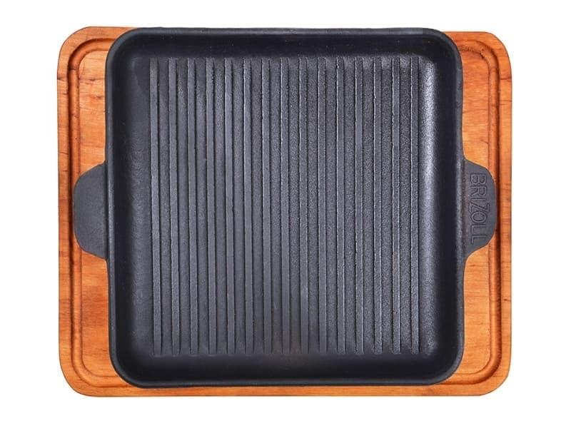 Сковорода HoReCa чуг. гриль квадр. с дощечкой 180х180х25 BRIZOLL арт. Н181825Г-Д - фото 7818