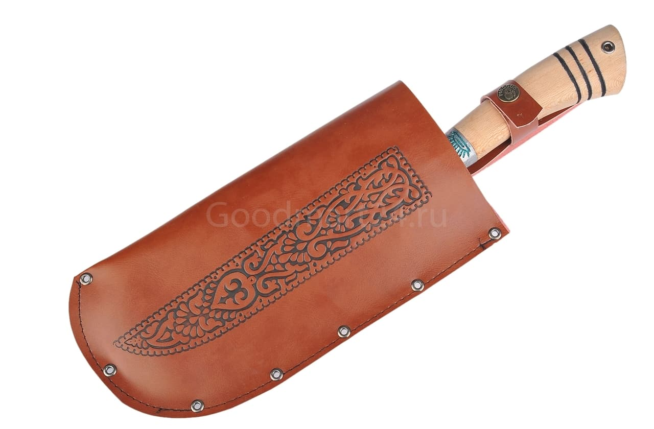 Топорик большой Гиймякеш, с ножнами, ШХ15 , гарда олово гравировка, ручка абрикос, 20-23 см. арт.42 - фото 8028