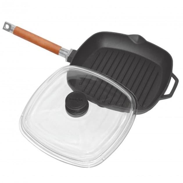 Сковорода-гриль чугунная 280х280х40 с ручкой и стеклянной крышкой арт. 1028С - фото 8051