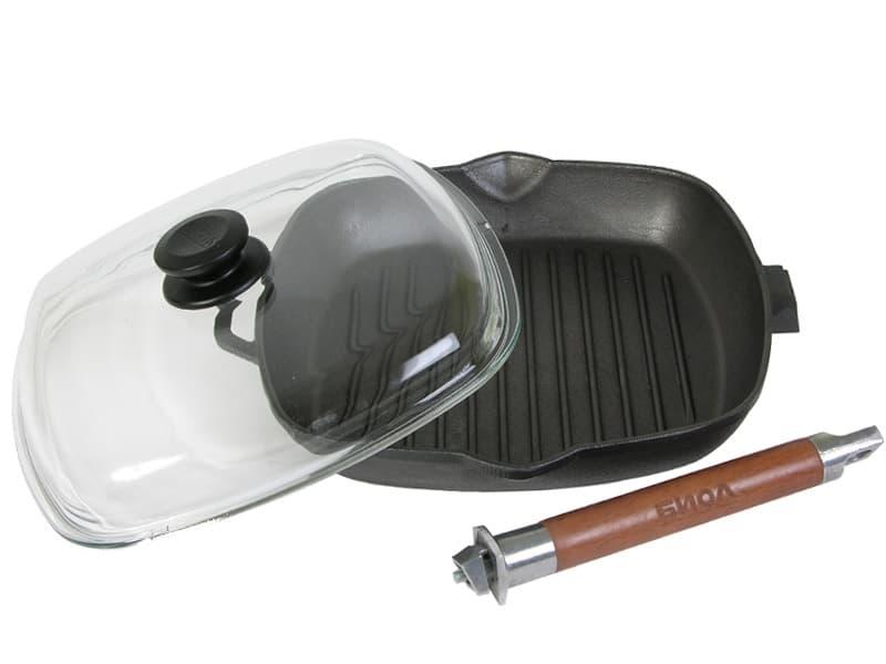 Сковорода-гриль чугунная 280х280х40 с ручкой и стеклянной крышкой арт. 1028С - фото 8055