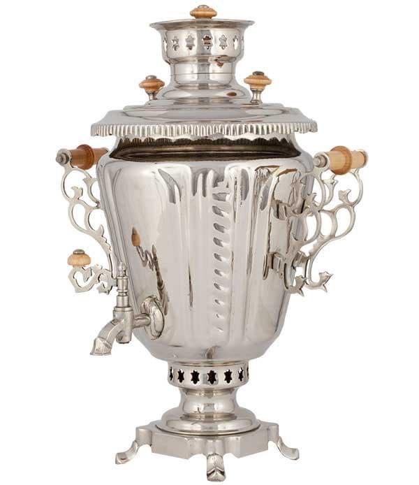 Самовар жаровой (угольный, дровяной) рюмка 7 л. латунь никелированная - фото 8970