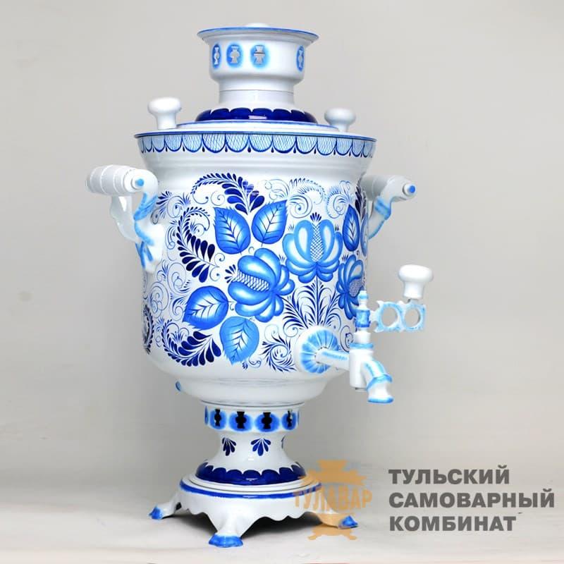 Самовар Гжель Традиционная 5 л.  жаровой (угольный) ТСК - фото 9017