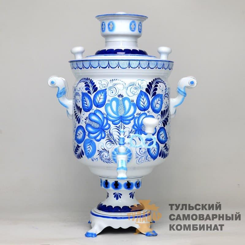 Самовар Гжель Традиционная 5 л.  жаровой (угольный) ТСК - фото 9018