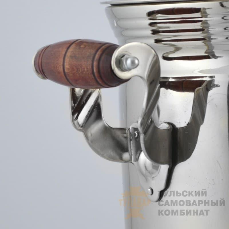 Самовар  жаровой (угольный) 5 л. латунь никелированная (банка) ТСК - фото 9056