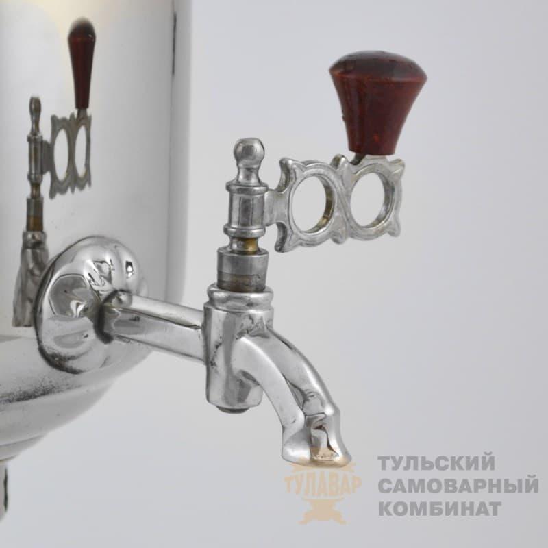 Самовар  жаровой (угольный) 5 л. латунь никелированная (банка) ТСК - фото 9057