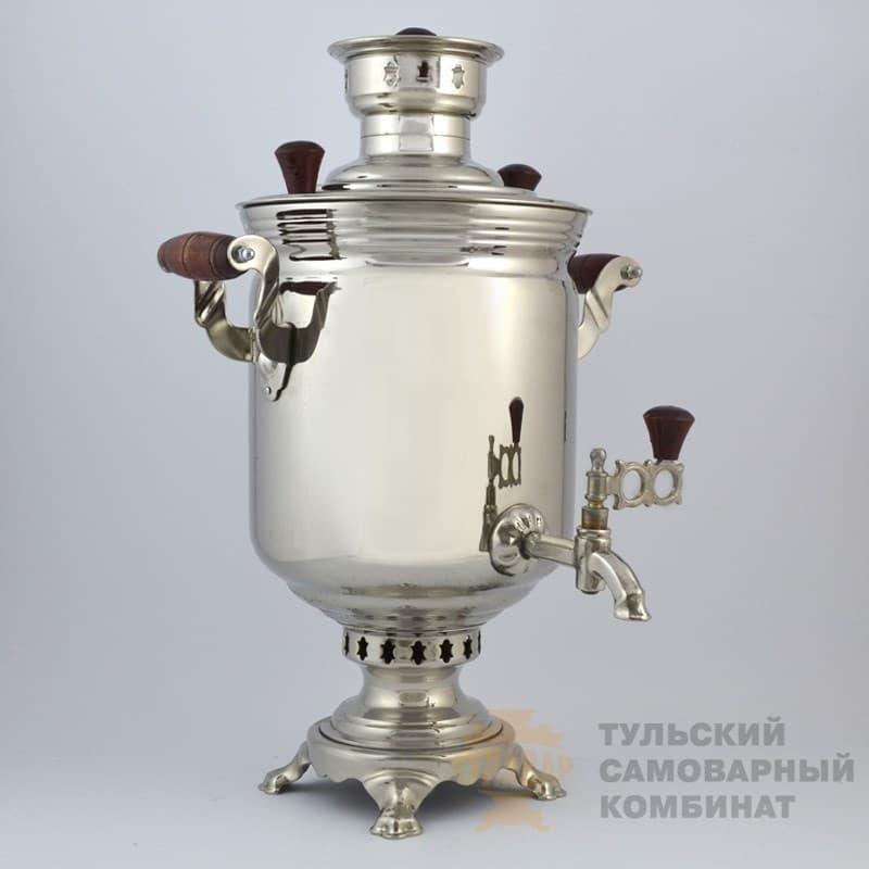 Самовар  жаровой (угольный) 7 л. латунь никелированная (банка) ТСК - фото 9112