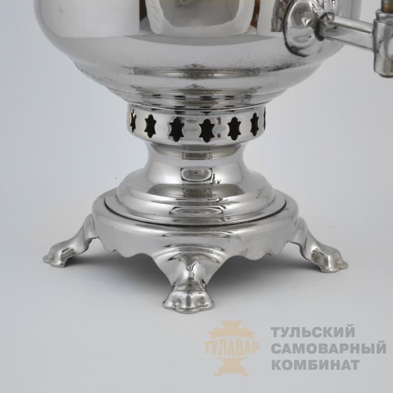 Самовар  жаровой (угольный) 7 л. латунь никелированная (банка) ТСК - фото 9114