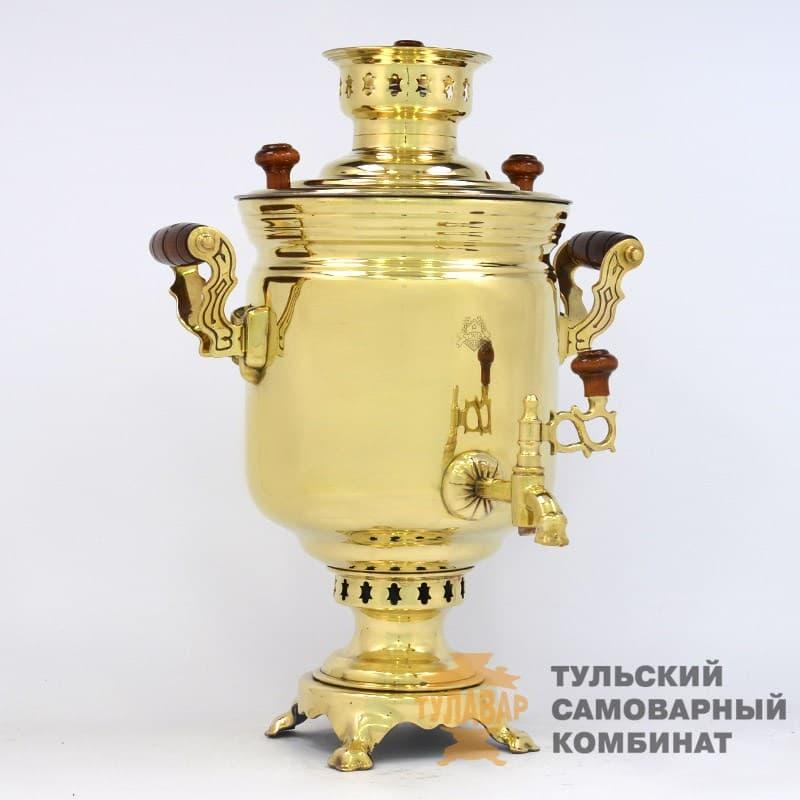 Самовар  жаровой (угольный) 5 л. латунь (банка) ТСК - фото 9124