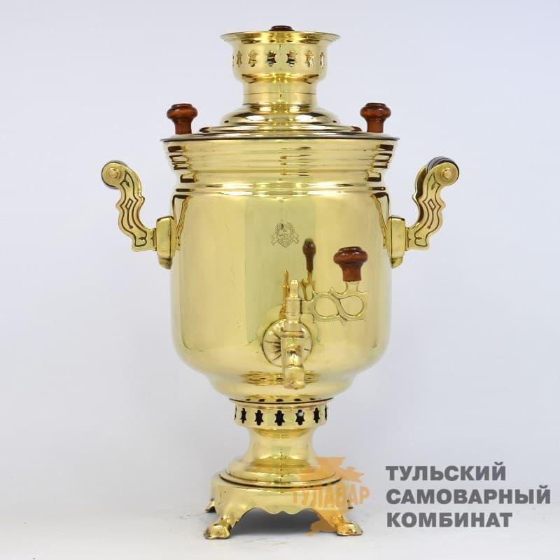 Самовар жаровой (угольный) 7 л. латунь (банка) ТСК - фото 9132