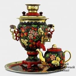 Набор Хохлома традиционная 3 л. электрический желудь, поднос, чайник ТСК - фото 9169