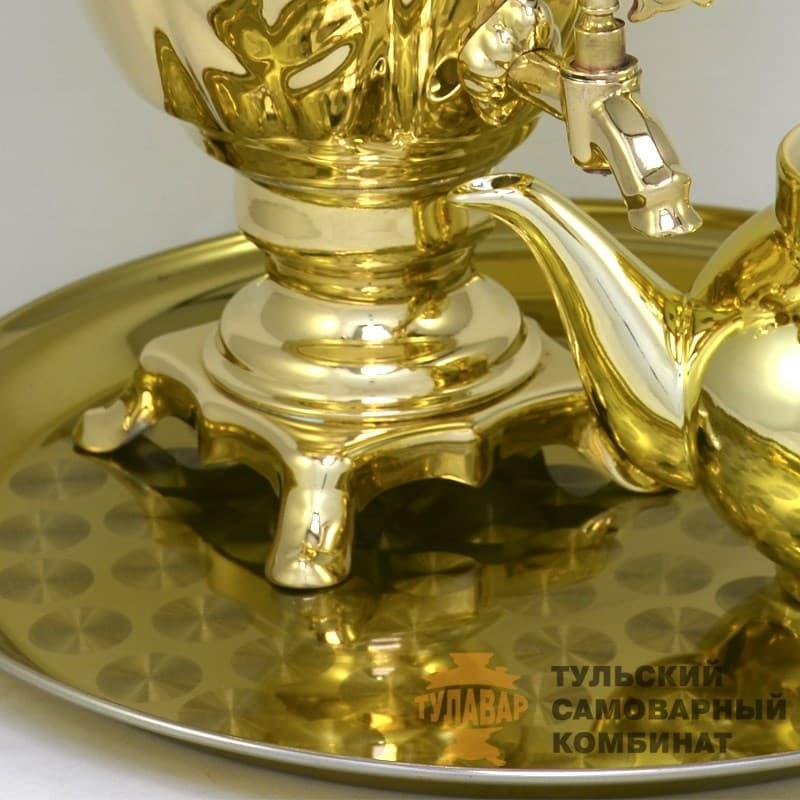 Набор Желудь 3 л. электрический, поднос, чайник, латунь, ТСК - фото 9214