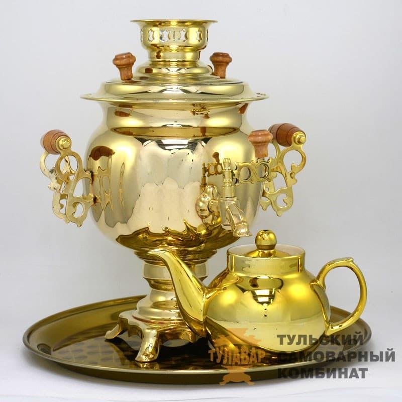 Набор Овал 3 л. электрический, латунь, поднос, чайник, ТСК - фото 9263